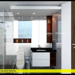 Vista frontal de Baño Principal: Baños de estilo  por F9 studio Arquitectos