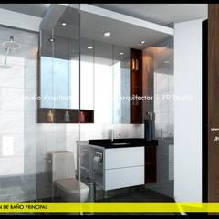 Vista Lateral de Baño Principal: Baños de estilo  por F9 studio Arquitectos