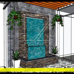 Vista de Muro LLoron: Jardines en la fachada de estilo  por F9.studio Arquitectos