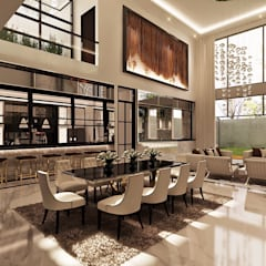 J House, Modern Style. Pematangsiantar City:  Ruang Makan by Lighthouse Architect Indonesia