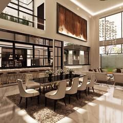 J House, Modern Style. Pematangsiantar City: Ruang Makan oleh Lighthouse Architect Indonesia,