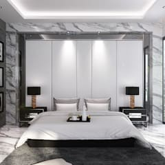 Headboard Backdrop Master room:  Kamar Tidur by Lighthouse Architect Indonesia