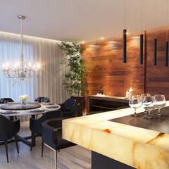 Cozinha Gourmet e Sala de Jantar: Salas de jantar  por Maria Luiza Aceituno arquitetos