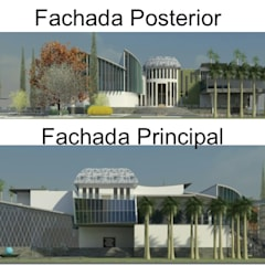 FACHADA PRINCIPAL Y POSTERIOR: Casas de estilo  por ESTUDIO KULUMAK