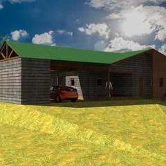 Diseño de Casa Loteo Los Morros, camino a Lago Atravesado: Casas unifamiliares de estilo  por casa rural - Arquitectos en Coyhaique,