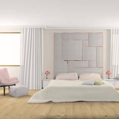 Pudrowy róż i miedź w sypialni: styl , w kategorii Sypialnia zaprojektowany przez Esteti Design