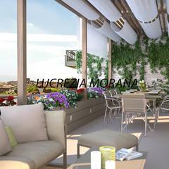 Terrazzino con vista su Torino: Terrazza in stile  di Lucrezia Morana - ML Modellazione 3D & Rendering