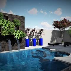 Piscinas de jardín de estilo  por Trivisio Consultoria e Projetos em 3D