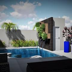 Piscina: Piscinas de jardim  por Trivisio Consultoria e Projetos em 3D