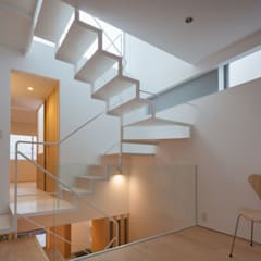 うなぎの寝床の多世帯住宅: 有限会社角倉剛建築設計事務所が手掛けた階段です。