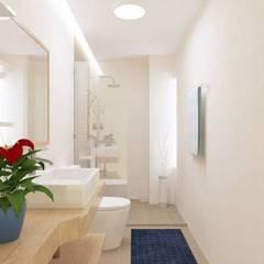 Nhà Phố 3 Tầng Hướng Nam Diện Tích 5x14m Phòng tắm phong cách châu Á bởi Công ty TNHH TK XD Song Phát Châu Á Đồng / Đồng / Đồng thau