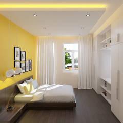 Nhà Phố 4 Tầng Mặt Tiền 4m Thiết Kế Hiện Đại Ở Tân Bình:  Phòng ngủ by Công ty TNHH Xây Dựng TM – DV Song Phát