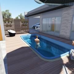 Espaço da piscina e abrigo de veículos: Piscinas de jardim  por Janete Krueger Arquitetura e Design