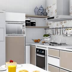 Cozinha compacta e funcional: Armários de cozinha  por Trivisio Consultoria e Projetos em 3D