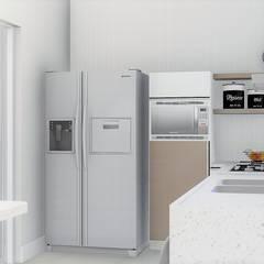Casa compacta e completa: Armários de cozinha  por Trivisio Consultoria e Projetos em 3D