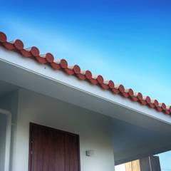 玄関の庇: 株式会社青空設計が手掛けた一戸建て住宅です。