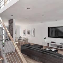Vivienda unifamiliar 2: Salas / recibidores de estilo  por TECTONICA STUDIO SAC,