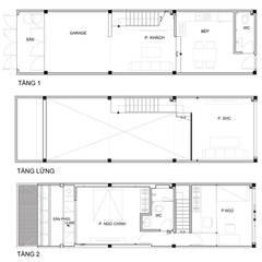 Mặt bằng thiết kế kiến trúc ngôi nhà phố 2 tầng được cải tạo.:  Nhà by Công ty TNHH Thiết Kế Xây Dựng Song Phát