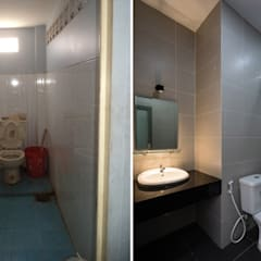 Nhà Phố 40m2 Đẹp Khó Tin Sau Khi Được Cải Tạo Sửa Chữa Phòng tắm phong cách châu Á bởi Công ty TNHH TK XD Song Phát Châu Á Đồng / Đồng / Đồng thau