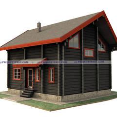 Деревянный дом из лафета 8 х 9 м: Деревянные дома в . Автор – Projectstroy