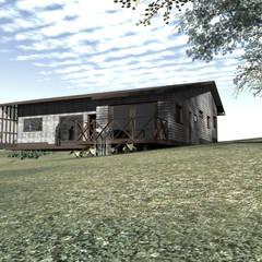 Diseño de Casa Loteo Los Morros, camino a Lago Atravesado: Casas unifamiliares de estilo  por casa rural - Arquitectos en Coyhaique
