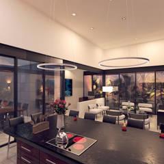 Casa VMC: Cocinas equipadas de estilo  por Heftye Arquitectura