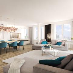 Wohnen im Ausnahmeobjekt PRAEDIUM in Frankfurt: industriale Wohnzimmer von JLL Residential Development