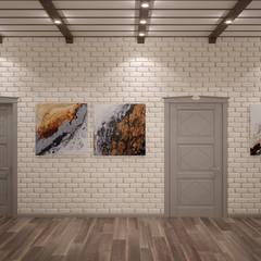 Дизайн коридора и гостиной в стиле фьюжн в доме по ул.Правобережная, г.Краснодар: Коридор и прихожая в . Автор – Студия интерьерного дизайна happy.design, Кантри