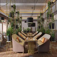 Дизайн интерьера ресторана с открытыми стеллажами для зонирования: Коммерческие помещения в . Автор – Art-i-Chok