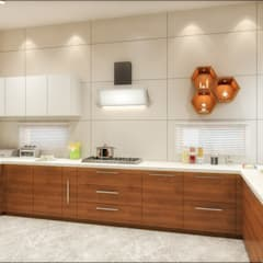 3d view of kitchen :  Built-in kitchens by Square Designs