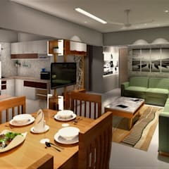 PROPOSED INTERIOR AT PURANIK ABIDANTE:  Living room by DESIGN EVOLUTION LAB