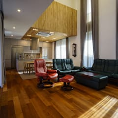 거실+주방: 위즈스케일디자인의  다이닝 룸