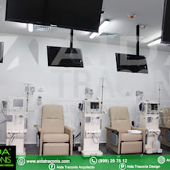 Sillones de tratamiento de Clínica de Hemodiálisis Purificare: Estudios y oficinas de estilo clásico por AIDA TRACONIS ARQUITECTOS EN MERIDA YUCATAN MEXICO