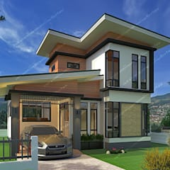 บ้านพักอาศัย 2 ชั้น:  บ้านสำหรับครอบครัว โดย แบบบ้านออกแบบบ้านเชียงใหม่,