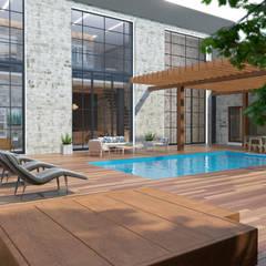 Терраса загородного дома с бассейном: Дома с террасами в . Автор – Art-i-Chok