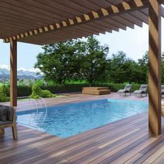 Дизайн экстерьера загородного дома с бассейном: Загородные дома в . Автор – Art-i-Chok
