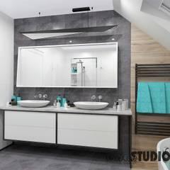 łazienka w szarościach: styl , w kategorii Łazienka zaprojektowany przez MIKOŁAJSKAstudio