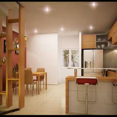 Tư Vấn Thiết Kế Nhà Ống 3 Tầng 1 Tum 5x18m Ở Bình Thạnh:  Tủ bếp by Công ty TNHH Xây Dựng TM – DV Song Phát,