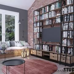 rustic Living room by MIKOŁAJSKAstudio