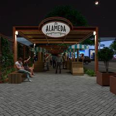 INGRESO ALAMEDA: Espacios comerciales de estilo  por PROMENAD ARQUITECTOS