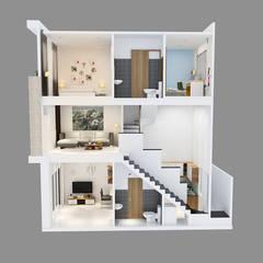 Mẫu Nhà Phố 1 Trệt 1 Lửng 1 Lầu Đẹp Được Ưa Chuộng Năm 2018:  Nhà gia đình by Công ty TNHH Xây Dựng TM – DV Song Phát,