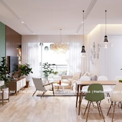 Thiết kế nội thất chung cư 55m cho chị Lan Anh:  Phòng khách by Nội Thất Hoàng Gia