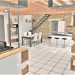 Création d'un espace entrée et Réaménagement de l'espace salon / salle à manger: Salle à manger de style  par Atelier Créa' Design