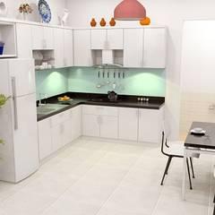 Thiết Kế Nhà Ống 2 Tầng 50m2 Với Chi Phí Tiết Kiệm 500 Triệu:  Tủ bếp by Công ty TNHH Xây Dựng TM – DV Song Phát,