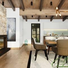 Интерьеры дома над прудом в свободном стиле: Гостиная в . Автор – Компания архитекторов Латышевых 'Мечты сбываются'
