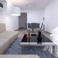 Distribución de Sala Comedor: Salas / recibidores de estilo minimalista por Estudio Allan Cornejo Arquitecto