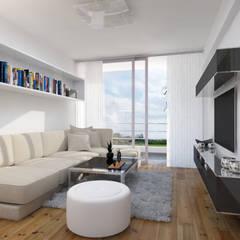 """Edificio """"Parque Prada"""": Salas / recibidores de estilo  por Estudio Allan Cornejo Arquitecto,"""