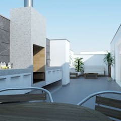 Distribución de Terraza: Terrazas de estilo  por Estudio Allan Cornejo Arquitecto