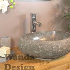 Kamienne umywalki z otoczaka w łazience: styl , w kategorii Łazienka zaprojektowany przez Lux4home™