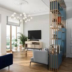غرفة المعيشة تنفيذ Дизайн студия Алёны Чекалиной